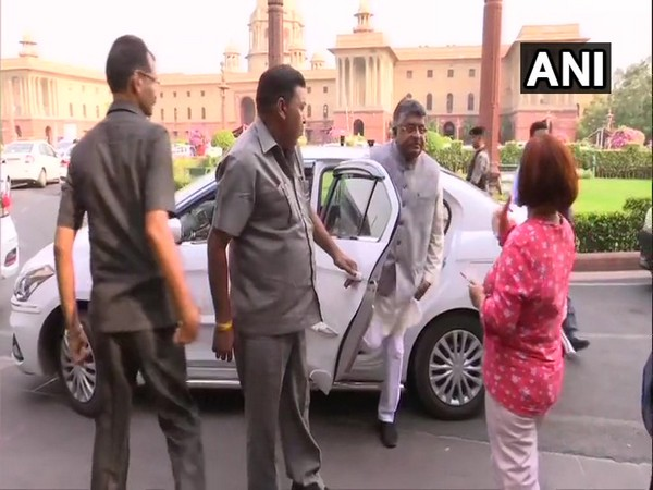 Telecom Minister Ravi Shankar Prasad arriving to attend the meeting in New Delhi on Wednesday. Photo/ANI