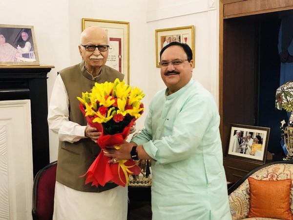 BJP leader J P Nadda met party veteran L K Advani on Wednesday. (Photo/Twitter@JPNadda)