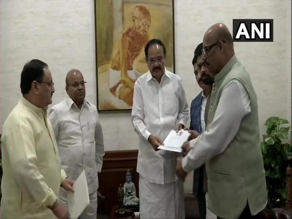 TDP MPs met Rajya Sabha Vice President Venkaiah Naidu in New Delhi on Thursday. (Photo/ANI)