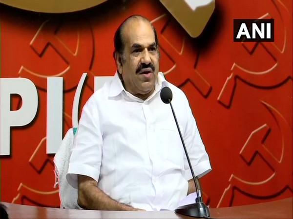 CPM Kerala Chief Kodiyeri Balakrishnan speaking at a press conference in Thiruvananthapuram on Saturday. Photo/ANI