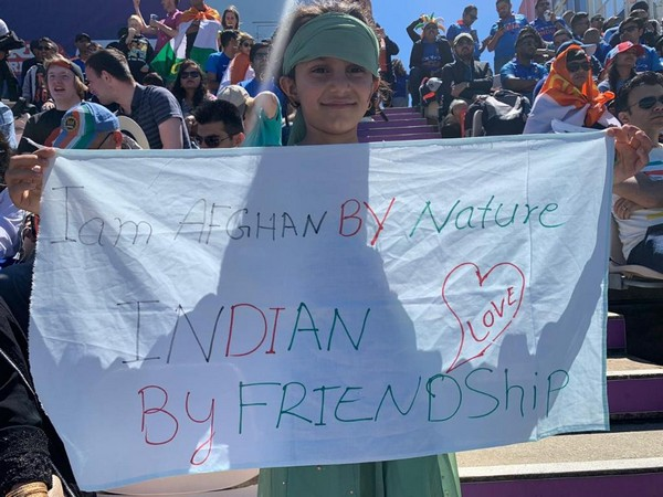 Fan during the India-Afghanistan World Cup match on Saturday (Photo/ Cricket World Cup Twitter)
