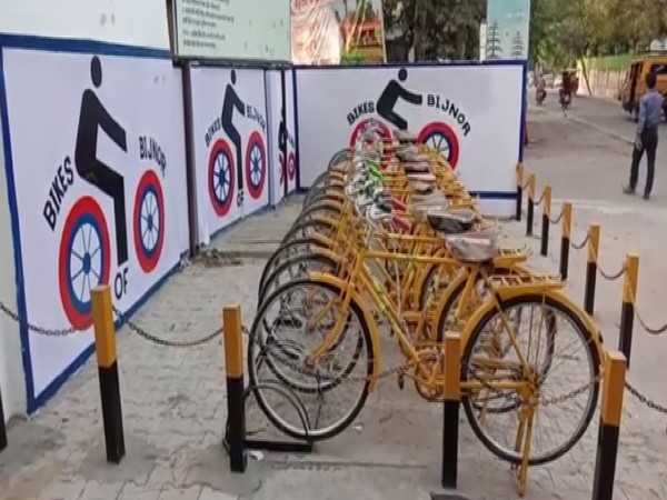 The refurbished cycles at a stand in Uttar Pradesh's Bijnor.