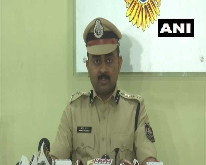 Deputy Commissioner of Police (DCP) Crime Branch, Deepan Bhadran speaking at a press conference in Ahmedabad on Saturday. Photo/ANI
