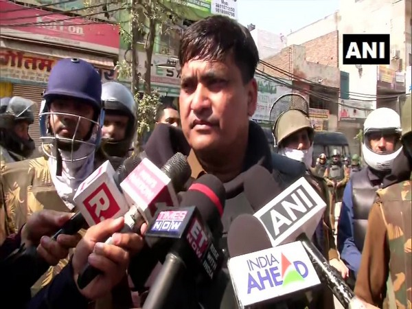Deputy Commissioner of Police, North-East Ved Prakash Surya speaking to reporters in Maujpur area of New Delhi on Monday. Photo/ANI