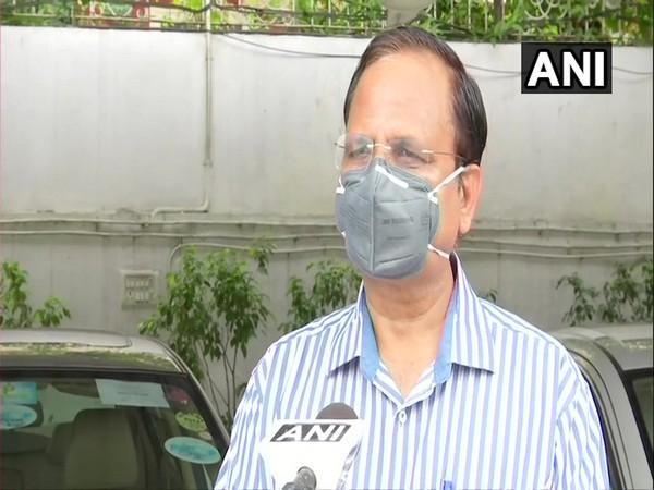 Delhi Health Minister Satyendar Jain speaking to ANI in New Delhi on Sunday. Photo/ANI
