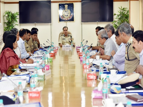 Delhi Police Commissioner Amulya Patnaik chairing the meeting on Friday.