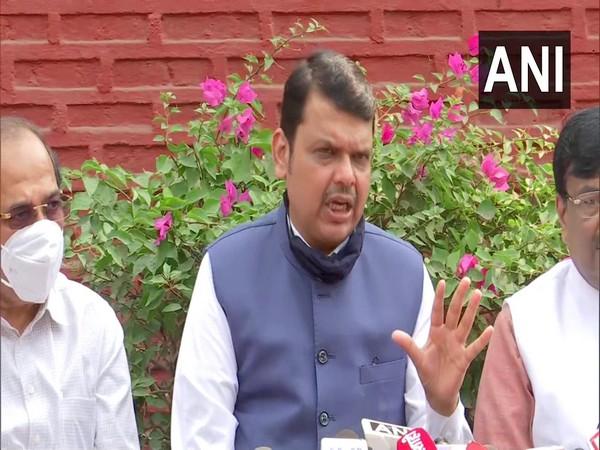 Devendra Fadnavis addressing a press meet on Wednesday.