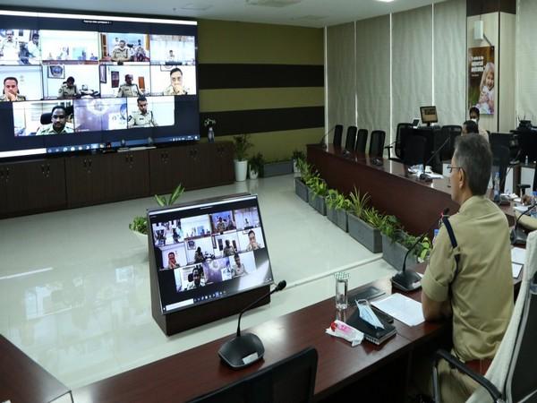 Gautam Sawang, Andhra Pradesh DGP during a video conferencing with SPs (Photo/ANI)