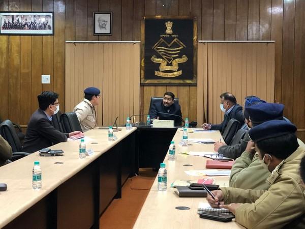 Uttarakhand Director General of Police (DGP) Ashok Kumar at a meeting. (ANI/Photo)