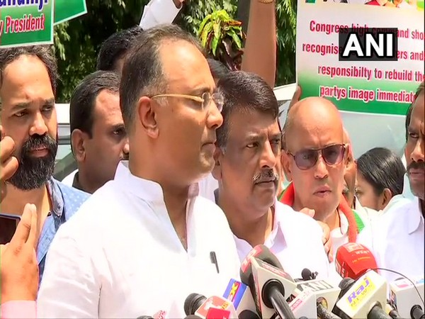 KPCC president Dinesh Gundu Rao interacting with media persons in Bengaluru on Wednesday. Photo/ANI