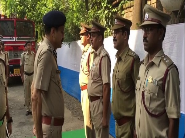 West Bengal Fire Services Director General Jag Mohan checking the uniforms of officers at Siliguri Fire Station on Tuesday. Photo/ANI