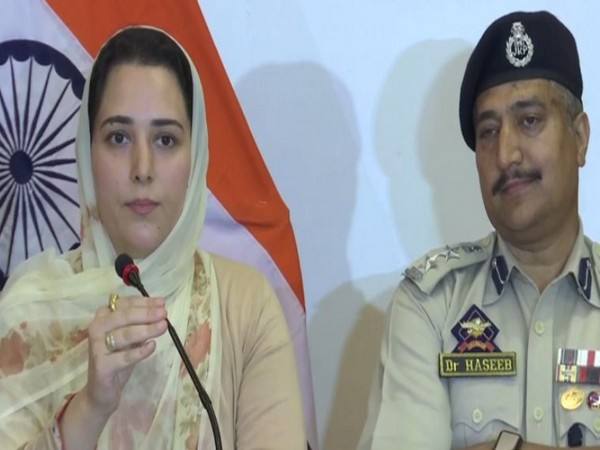 Director of Information and Public Relations Syed Sehrish Asgar and Srinagar police chief Dr Haseeb Mughal speaking in a joint press conference