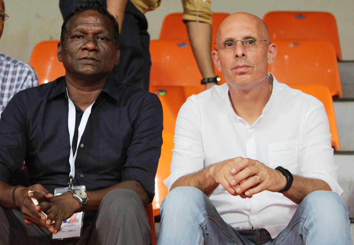 Former Indian striker IM Vijayan on the left (Courtesy- Indian Football Team Twitter)