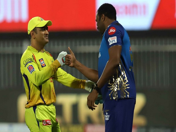CSK skipper MS Dhoni and MI stand-in captain Kieron Pollard (photo: BCCI/ IPL)