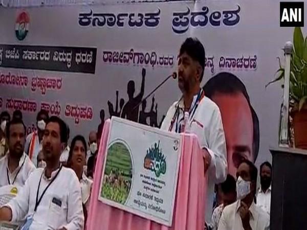 Karnataka Congress chief DK Shivakumar addressing a gathering in Bengaluru on Thursday.