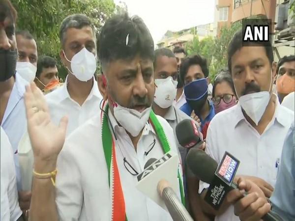 Karnataka Congress chief DK Shivakumar speaking to reporters in Bengaluru on Wednesday. (Photo/ANI)
