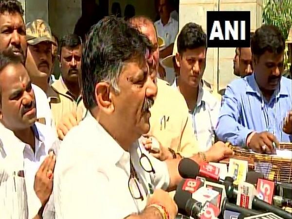 Karnataka Irrigation minister DK Shivakumar speaking to media on Thursday in Bengaluru (Photo/ANI)