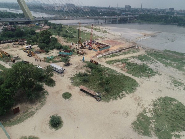 The Delhi Metro Rail Corporation (DMRC) commenced preliminary work on the fifth Metro bridge over river Yamuna (Photo source: DMRC)