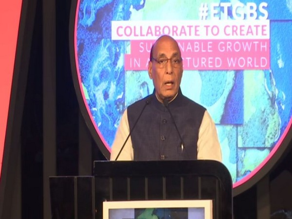 Defence Minister Rajnath Singh speaking at an event in New Delhi on Saturday. Photo/ANI