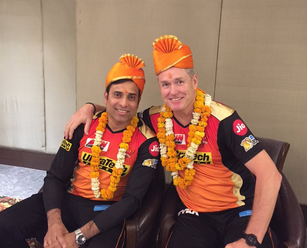 SRH coach Tom Moody (on the right) with VVS Laxman (on the left) (Courtesy Tom Moody Twitter)
