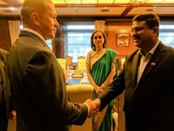 Union Minister Dharmendra Pradhan meets Russian Deputy Prime Minister Yury P Trutnev in Moscow. (Photo/ANI)