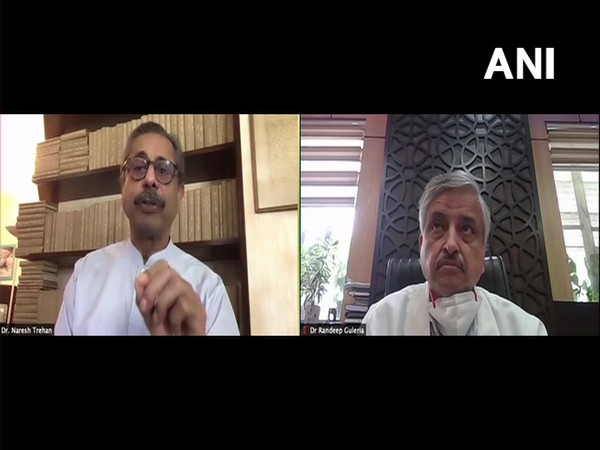 Visual of Dr Naresh Trehan (left) and Dr Randeep Guleria in conversation with ANI
