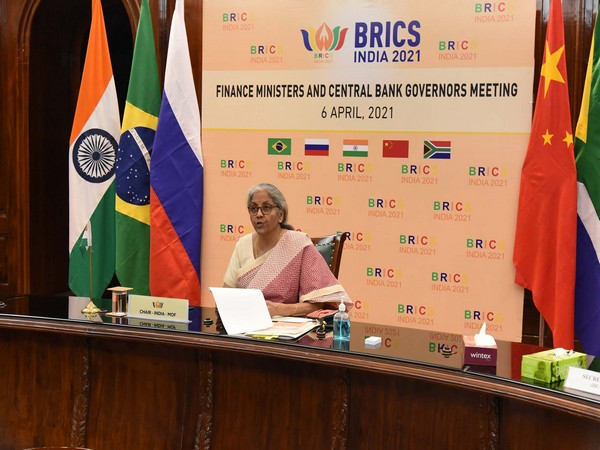 Nirmala Sitharaman speaking at the BRICS Finance Ministers and Central Bank Governors meeting in Delhi on Tuesday.