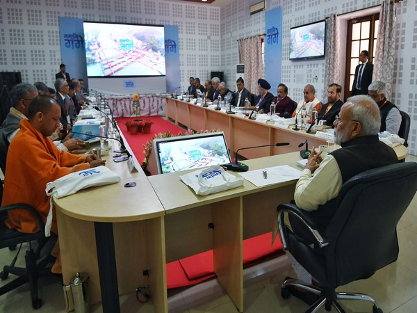 Prime Minister Narendra Modi at the National Ganga Council meeting in Kanpur on Saturday. Photo/PIB