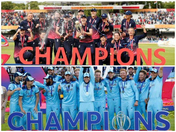 2017 World Cup champions England women's team (top); 2019 World Cup champions England men's team (bottom)