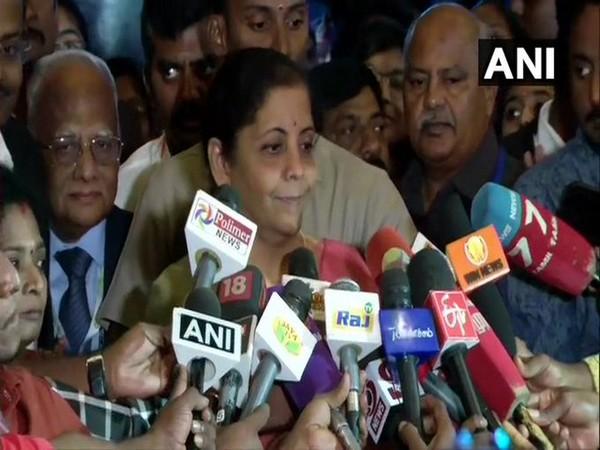 Union Minister Nirmala Sitharaman speaks to media in Chennai on Saturday. [Photo/ANI]