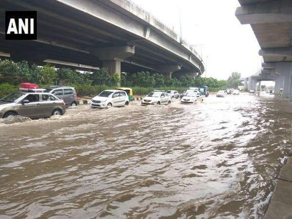Waterlogging on the route to domestic airport in Delhi, following heavy rain in the city. [Photo/ANI]