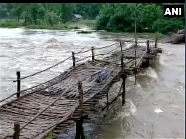 The Brahmaputra river in spate in Assam.