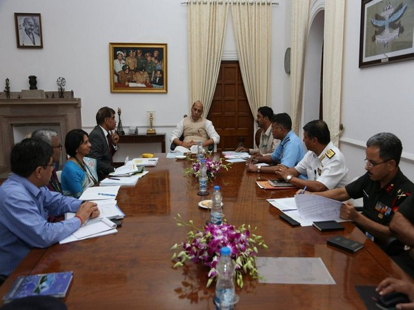 Defence Minister Rajnath Singh during the meeting with members of the Task Force. (Photo tweeted by Defence Spokesperson)