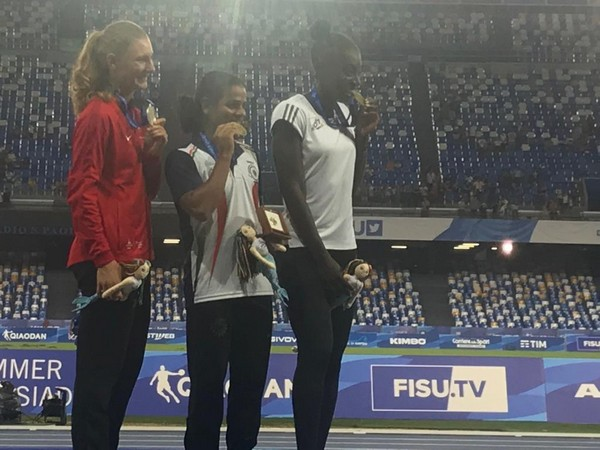 Sprinter Dutee Chand with her gold medal in Napoli (Photo/ Dutee Chand Twitter)