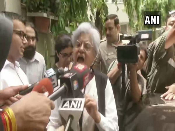 Senior Advocates Indira Jaising speaking to media persons outside her house in New Delhi on Thursday. Photo/ANI