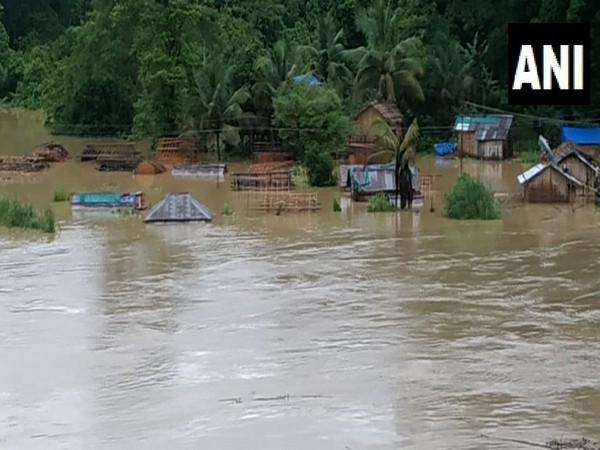 Tlabung town flooded due to heavy rainfall in the region. [Photo/ANI]