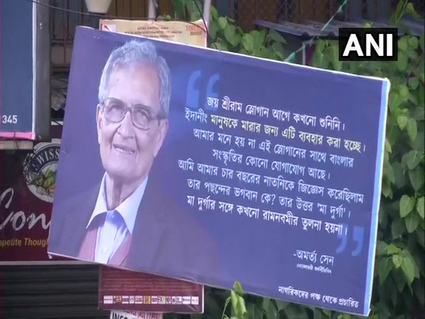 Poster of Amartya Sen's 'Jai Shri Ram' comment found hanging in Kolkata [Photo/ANI]