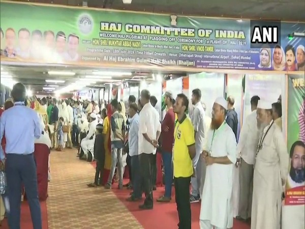 The Haj Committee of India organizes a flagging-off ceremony for the pilgrims in Mumbai [Photo/ANI]