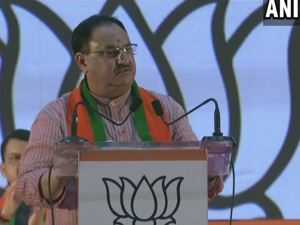 BJP working President JP Nadda addressing party workers on Sunday. Photo/ANI