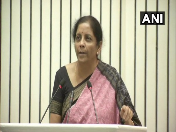 Defence Minister Nirmala Sitharaman during her address in Vigyan Bhawan in New Delhi (Photo/ANI)
