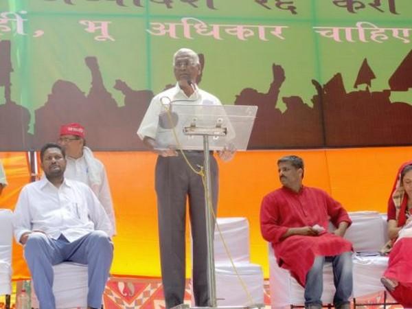 Communist Party of India (CPI) national secretary D Raja while addressing Bhoomi Adhikar Sangharsh rally at Sansad Marg. Photo: CPI Twitter handle