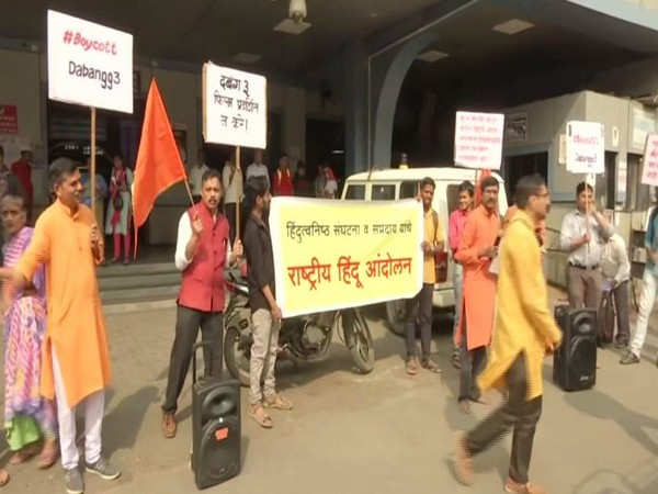 The Hindu Janajagruti Samiti staging a protest against the film 'Dabangg 3' in Mumbai on Sunday.