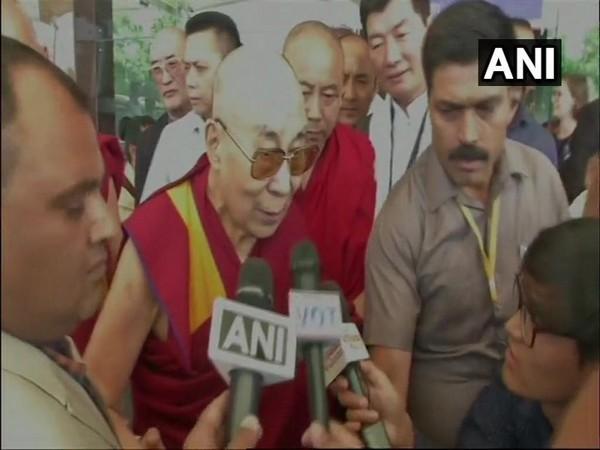 Tibetan spiritual leader Dalai Lama while speaking to media persons here on Friday. Photo/ANI