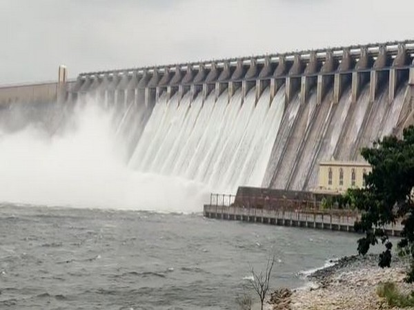 10 gates of Nagarjuna Sagar dam opened in Nalgonda District on Saturday. (Photo/ANI)