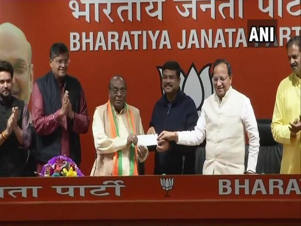 Former Odisha Minister Damodar Rout joins BJP in the presence of Union Minister Dharmendra Pradhan and BJP vice-president Baijayant Panda in Delhi on Thursday.