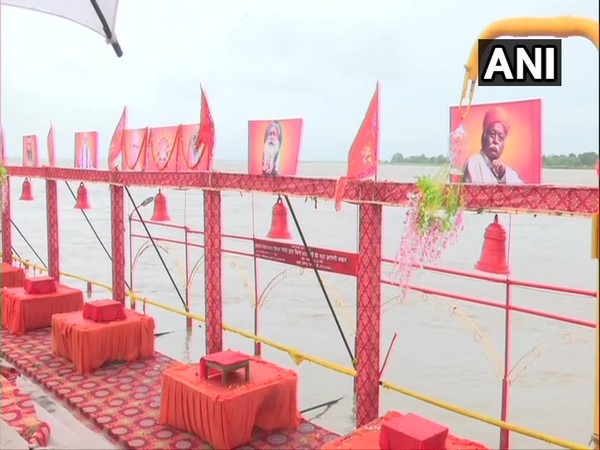 Saryu Ghat decked up ahead of foundationg stone laying ceremony in Ayodhya on Wednesday. (Photo/ANI)