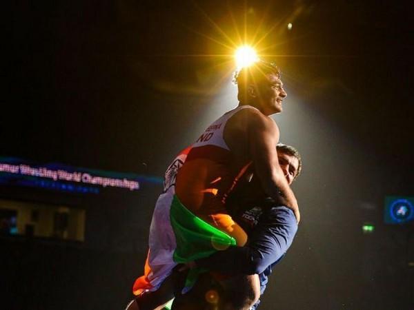 Deepak Punia advances to World Wrestling Championships final here on Saturday. (Photo Team India Twitter)