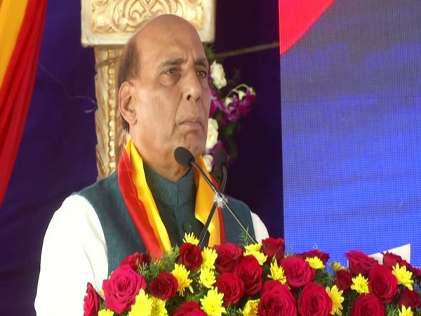 Defence Minister Rajnath Singh speaking at an event in Bengaluru on Thursday. Photo/ANI