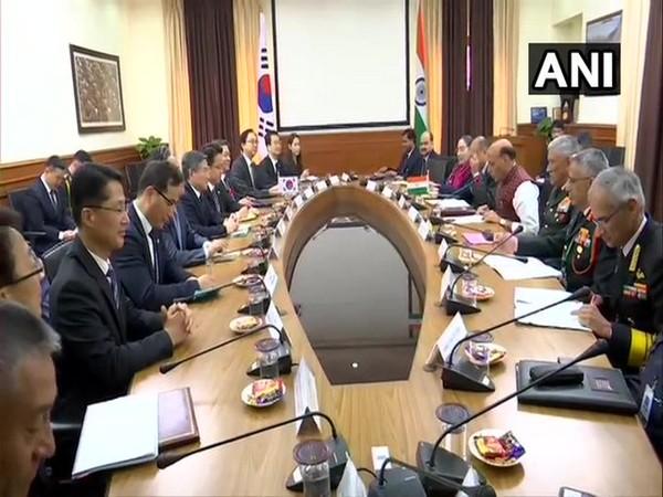 Delhi: Defence Minister Rajnath Singh and Jeong Kyeong-doo, Minister of National Defense of South Korea hold a meeting at South Block.