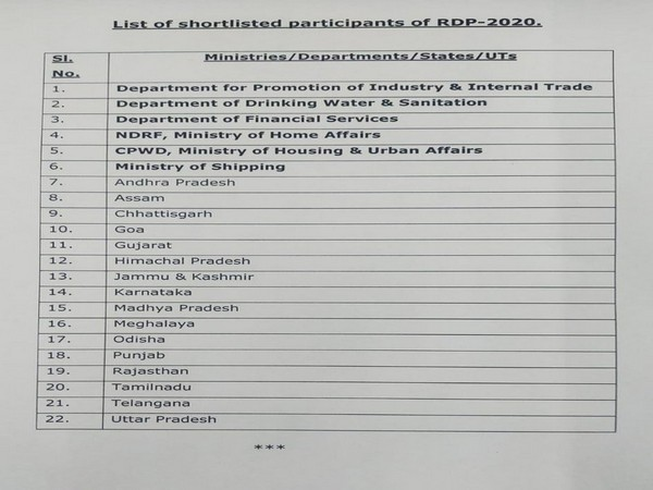 Defence Ministry's list of shortlisted participants(tableaux) for Republic Day Parade 2020
